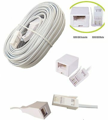 BT RJ11 UK Telephone Male to Female Extension Lead Cable 2 Metre to 30m Meter