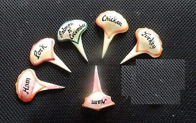 5 +1  X  Vintage  Sandwich Markers Hand Painted Pottery  Party