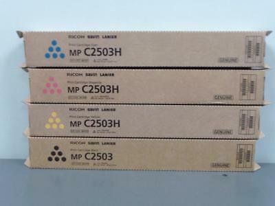 New Genuine RICOH SAVIN LANIER MP C2503 K & MP C2503H CMY Print Cartridge Set