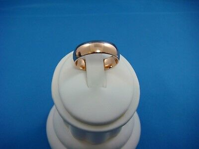 14K Rose Gold Plain Dome Comfort Fit Band 6.7 Grams 6 Mm Wide Size 8.5