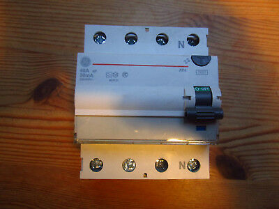 30mA 4 pole RCD trip safety switch 3 phase 40 Amp TP&N GE FPA 440/030 DIN RAIL