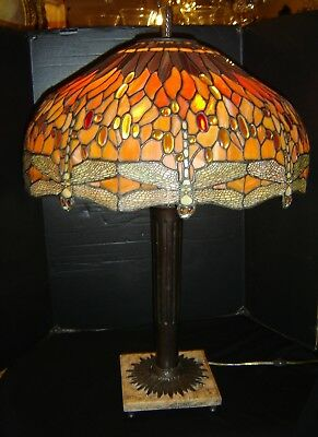 Antique Tiffany Style Table Lamp Exceptional Slag Glass Dragonfly Shade C1930'S