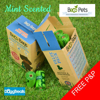 Dog Poop Bags - Strong Beco Green Biodegradable Bag Roll - Mint Scented