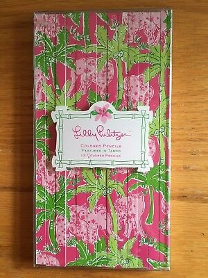 Lilly Pulitzer Colored Pencils Taboo Elephant Pattern Pack Set of 13 NEW