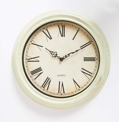 Large Vintage Sttyle Antique Wall Clock Shabby Chic - Cream