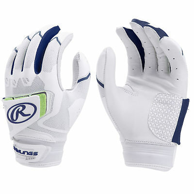 Rawlings Workhorse Pro Women's Fastpitch Softball Batting Gloves, White/Navy - L