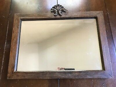 """Antique Mirror with Carved Wood Frame 21""""x 15"""" HEAVY Beveled Glass Wall Mirror"""