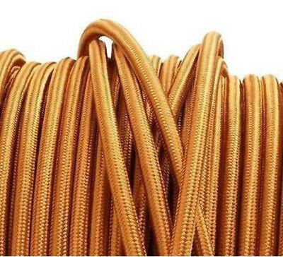 Gold Cotton Cloth Covered 2-Wire Round Cord Vintage Lamps Antique Light parts