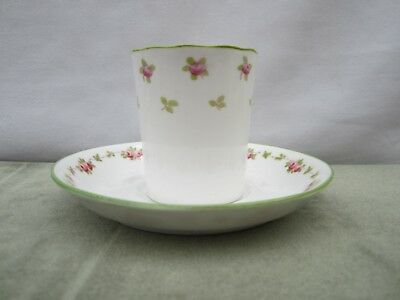 Crown Staffordshire Coffee Can & Saucer - Rose Bud Swags - Antique 1900s