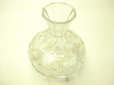 Old Vintage Handcut 24% Lead Crystal Glass Wine Or Water Carafe Never Used GOOD