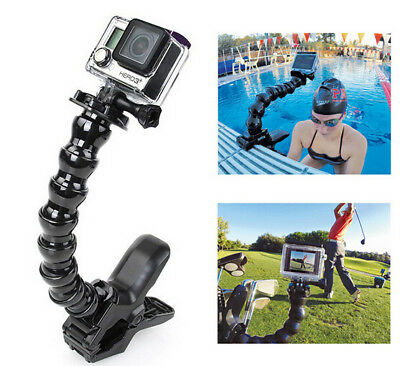 Jaws Flex Clamp Mount + Adjustable Neck for Gopro Hero5 4 3+ Camera Accessories
