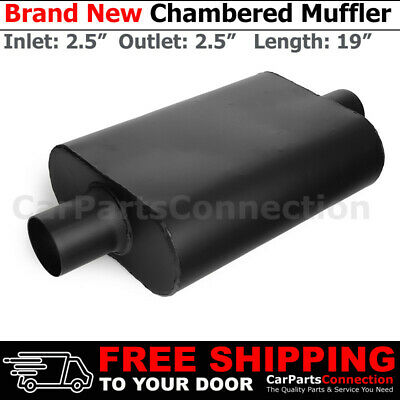 Offset In Center Out Black Pair 212425 High Flow Two Chamber Muffler 2.5 in