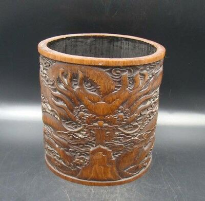 Collectible Handmade Carving Bamboo Brush Pot Statue Dragon