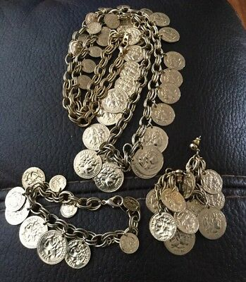 Vintage Gold Tone Alexander The Great Coin Necklace Bracelet Earrings
