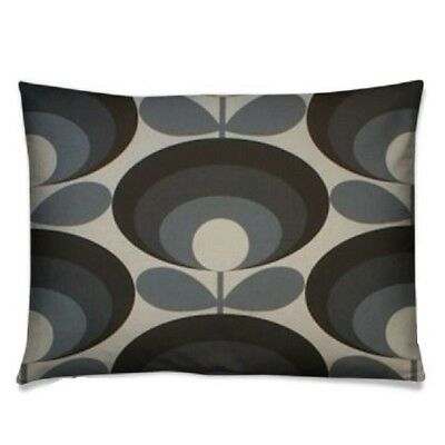 handmade cushion cover using orla kiely seventies flower cool grey oblong black