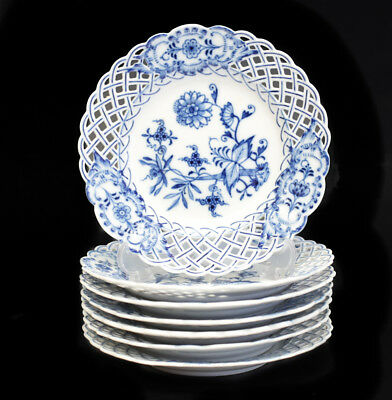 Meissen Blue Onion Reticulated Pierced Bread Plates, first quality