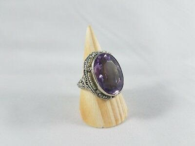 Antique art deco amethyst & natural seed pearl filigree ring 14k white gold