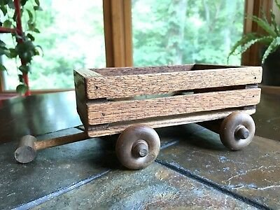 Antique Vintage Wood Wagon Childs Pull Toy Doll Bear Display Handmade Wood Toy