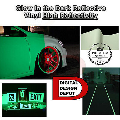 "Glow in the Dark Vinyl Adhesive Cutter Sign Hight Reflectivity 24"" x 5 FT"