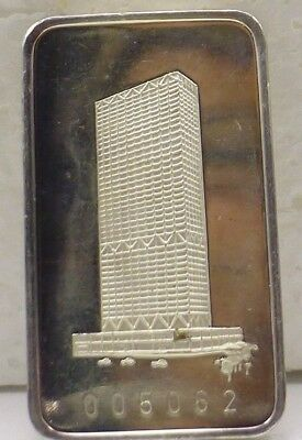 Vintage 1973 First Wisconsin Center 1 Oz 999 Silver Bar/Ingot Switzerland Mint