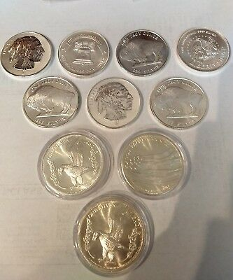10 Troy ounces .999 Silver coins in mint condition