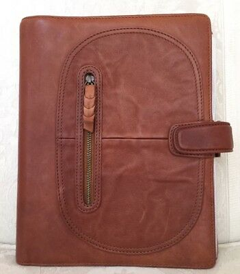Filofax Sienna Antiqued Leather A5 Organizer Planner w/ Dustcover & Extras