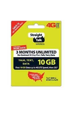 Straight Talk Unlimited Refill Card 90 Day 10GB Talk Text Data 3 Months