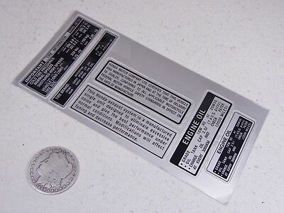 69-76 CB750 CB750K Warning Caution Plate Oil Label Sticker Decal Set 0530-002