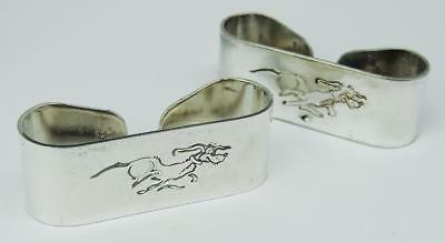 Lovely Vintage PAIR SILVER PLATE NAPKIN HOLDERS DOG DESIGN Falstaff England