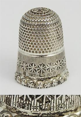 Stunning VICTORIAN STERLING SILVER THIMBLE SIZE 6 Chester 1899 Charles Horner