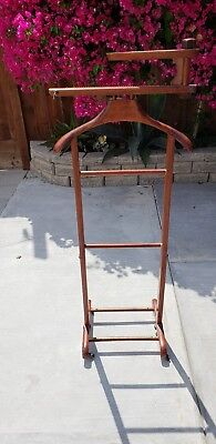 Brevettato Italy Wooden Valet Clothing suit coat hanger stand Rack butler Wheels