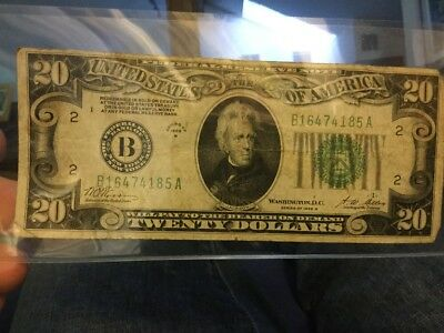 1928 B Twenty $20 Dollar Bill Federal Reserve - Redeemable in GOLD, a nice note