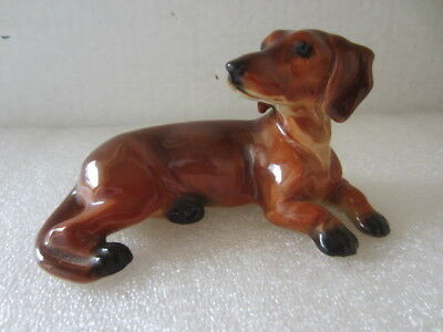 "DACHSHUND 4 1/2 "" PUPPY DOG FIGURINE by CORTENDORF Art Pottery Western Germany"