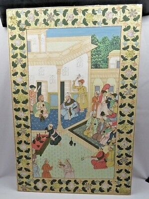Antique Persian scene handpainted silk Museum quality Oriental décor Falconer