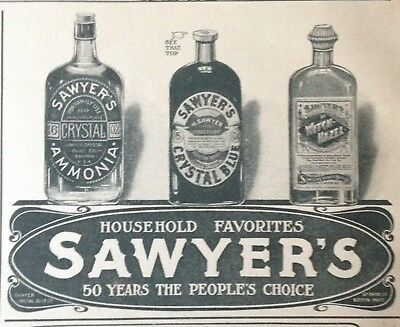 1907 Ad(H8)~Sawyer's Crystal Blue Household Cleaner. Ammonia, Witch Hazel