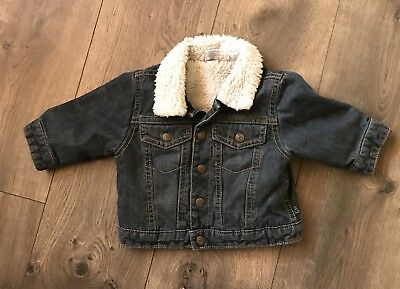 Boys Baby Gap Sherpa Lined Denim Jacket Size 3-6 Months