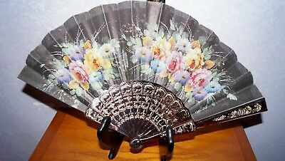 Antique Chinese Hand Painted Signed Celluloid Hand Fan Black Silk Flowers