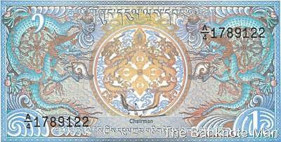 Bhutan 1 Ngultrum, P - 12, Crisp UNC, Beautiful Note - Colorful Dragons