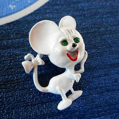 Cute Vintage White Enamel Comical Mouse Brooch Green Glass Eyes Bow in Tail