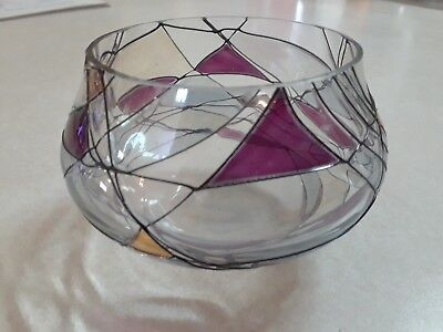 partylite mosaic tealight candle holders purple/gold