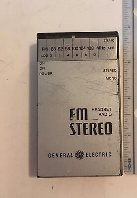 Vintage General Electric FM Stereo Headset Radio Model 7-1250B (ONLY MONO WORKS)