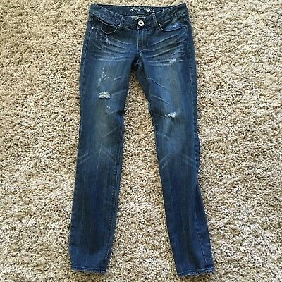 Express Distressed Women's Skinny Jeans Size 4 Sequin Pocket Embellishment