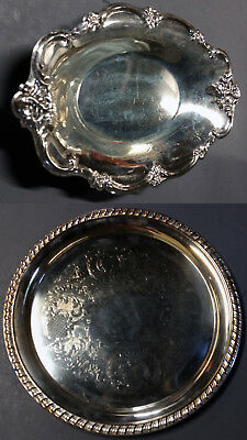 TWO/2 plates 1 INTERNATIONAL SILVER CO & 1 generic dish silverplate Tray Dining