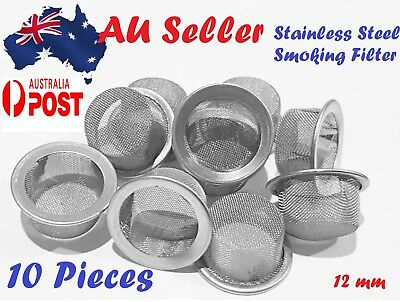 10 Pieces Tobacco Smoking Pipe Metal Filter Screen Steel Mesh Concave Cone 12 mm