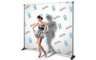 10'x 8' CUSTOM Step and Repeat Backdrop Printing Full Color FABRIC + FREE STAND
