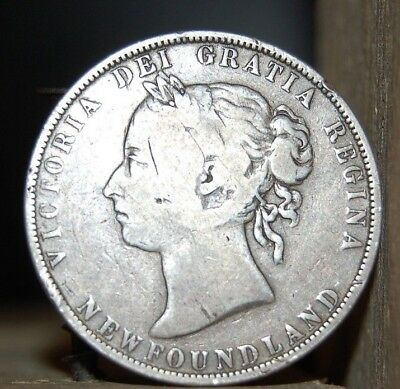 1900 Canada Newfoundland Silver 50 Cents, Old Sterling Silver World Coin