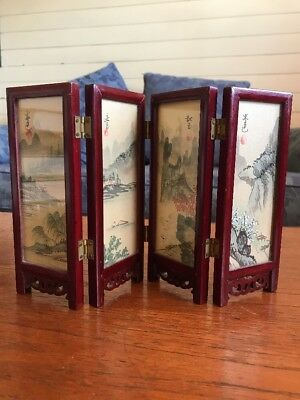 Miniature Vintage Chinese Room Divider Screen Hand painted