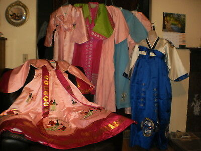 Lot of 7 beautiful, traditional, vintage Korean Hanbok and an under garment