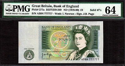 England, One Pound ND (1978-80) SOLID Serial 777777 Pick-377a CH UNC PMG 64