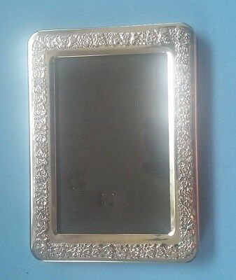 """Estate Vintage Silver Plate 3 1/8 """" x 4 1/4"""" PICTURE FRAME Embossed Flowers"""